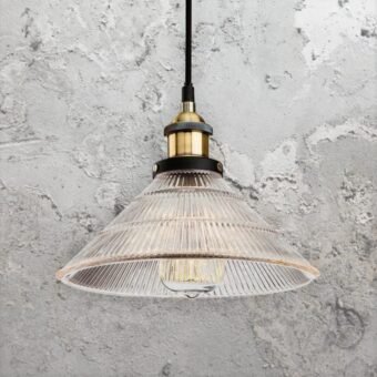 Fluted Clear Glass Pendant Light