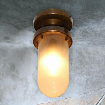 Frosted Glass Antique Brass Outdoor Ceiling Light