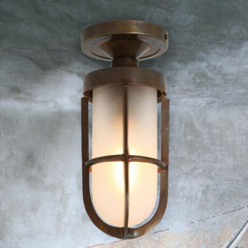 Frosted Glass Cage Antique Brass Outdoor Ceiling Light