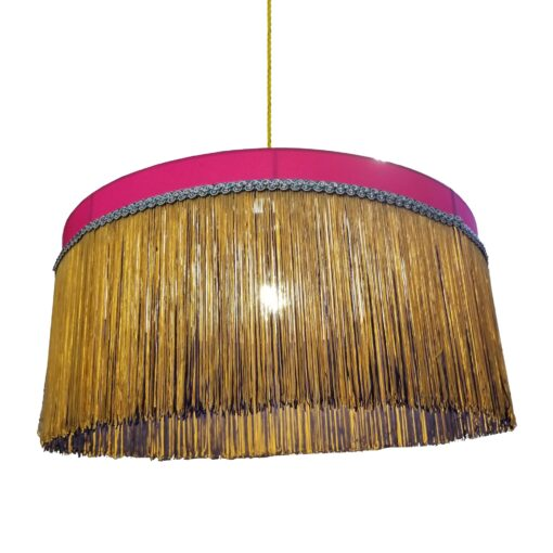 Fuchsia Pink Fringe Drum Pendant Light 400mm