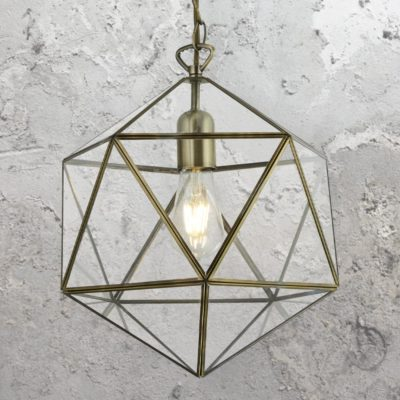 Geometric Antique Brass Pendant Light