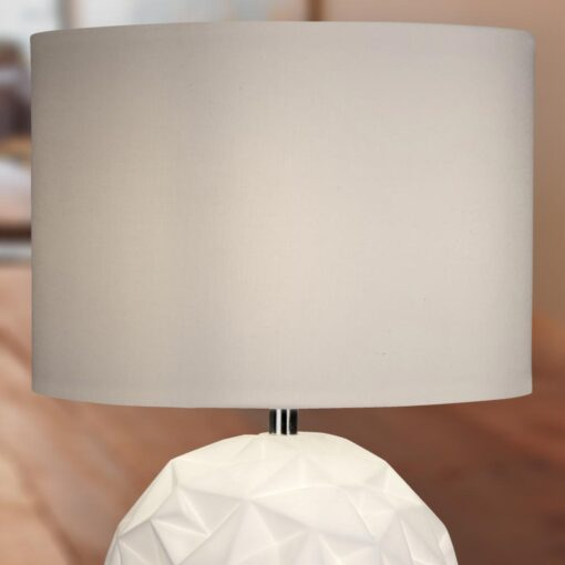 Geometric Ball White Table Lamp with White Shade