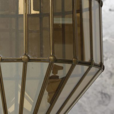 Geometric Smoked Amber Glass Pendant Light