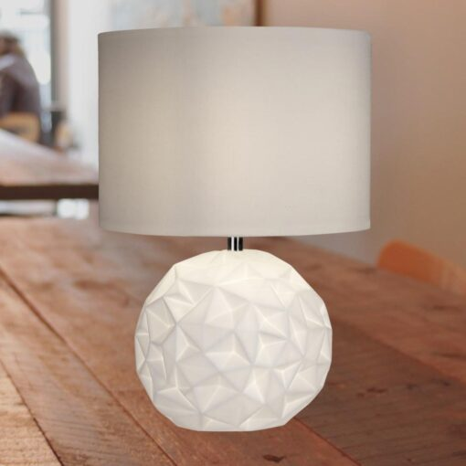 Geometric White Table Lamp with White Shade