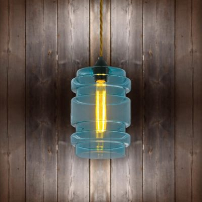 Glass Cylinder Pendant Light - Antique Gold Twisted Braided