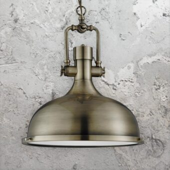 Antique Brass Factory Pendant Light,Glass Diffuser Vintage Pendant Light