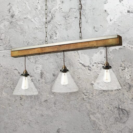 Glass Distressed Wood 3 Light Pendant