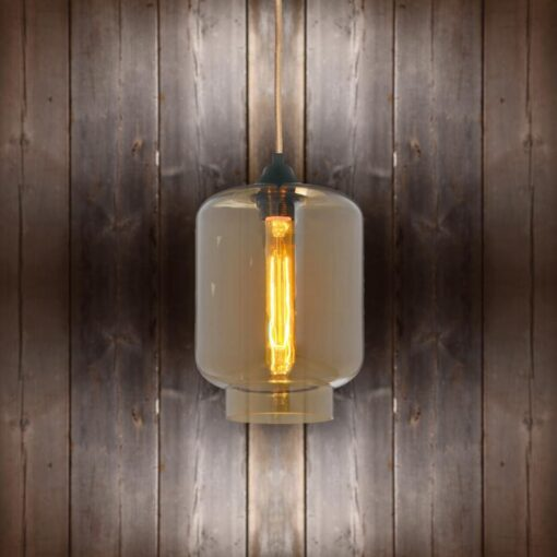 Glass Jug Pendant Light - Copper Round