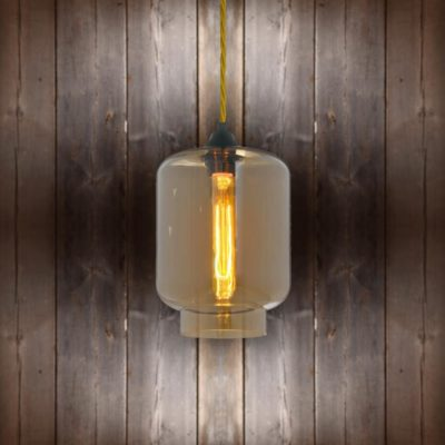 Glass Jug Pendant Light - Light Gold Twisted Braided