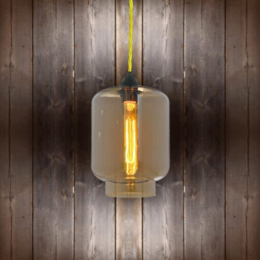 Glass Jug Pendant Light - Yellow Twisted Braided