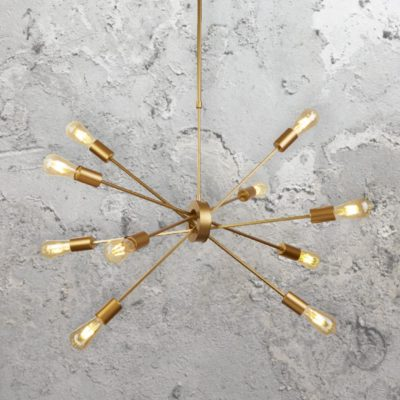 Matt Gold 10 Light Pendant