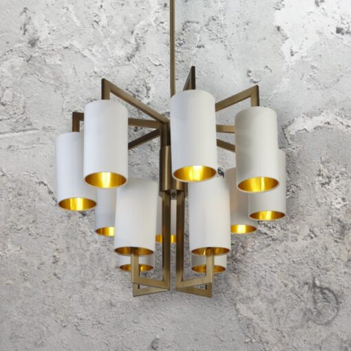 Gold 12 Light Chandelier with Shades