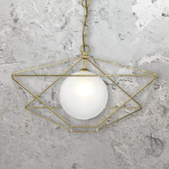 Gold Frame Globe Pendant Light