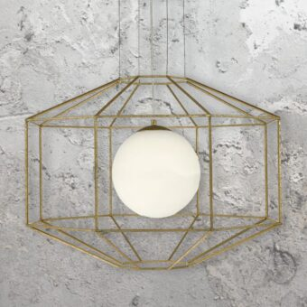 Gold Hexagonal Opal Pendant Light