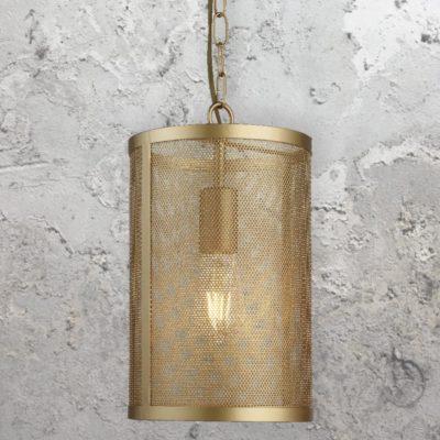 Matt Gold Mesh Cylinder Pendant Light
