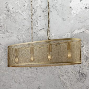 Matt Gold Mesh Island Pendant Light