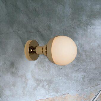 Gold Small Opal Globe Wall Light