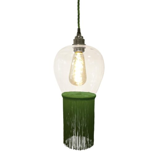 Grass Green Fringe Glass Pendant Light
