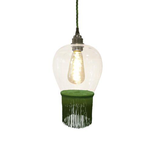 Grass Green Fringe Glass Pendant Light