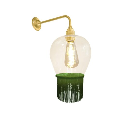 Grass Green Fringe Glass Wall Light