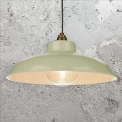 Green Cream Industrial Pendant Light