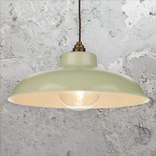 Green Cream Industrial Pendant Light
