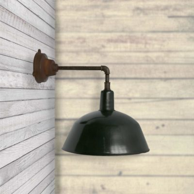 Green Dark Olive Enamel Wall Light