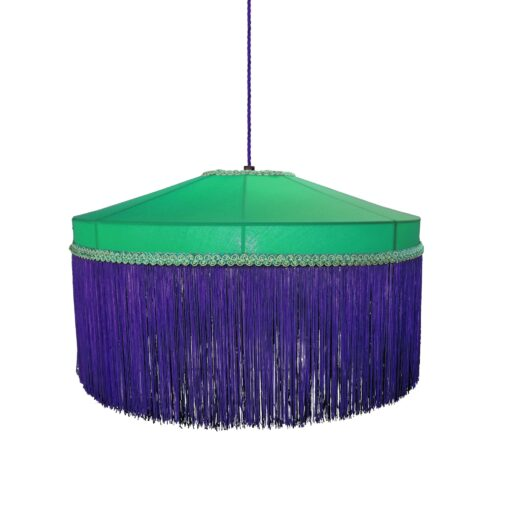 Purple Emerald Green Fringe Drum Pendant Light 400mm