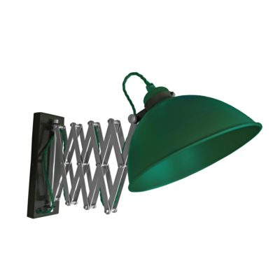 Green Scissor Arm Wall Light Black Two Tone