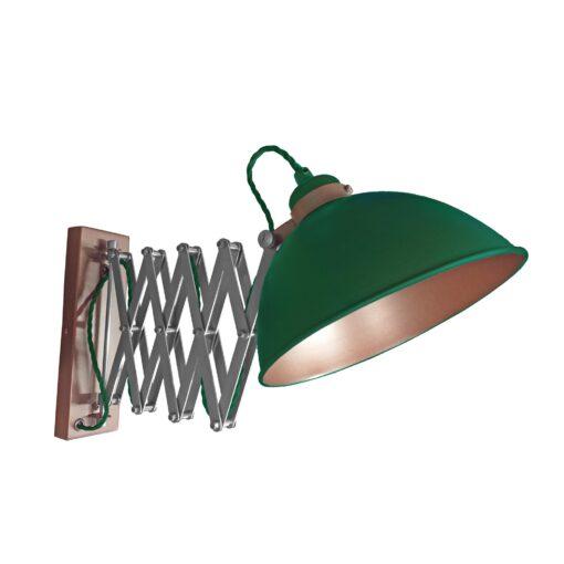 Green Scissor Arm Wall Light Bronze Inner