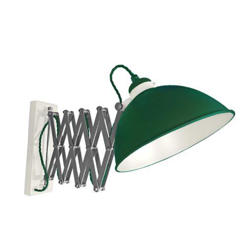 Green Scissor Arm Wall Light White Inner