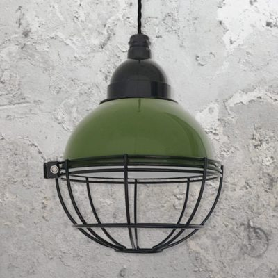 Industrial Green Small Dome Cage Pendant Light