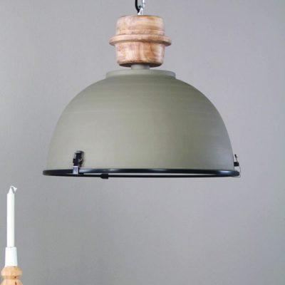 Grey And Wood Pendant Light