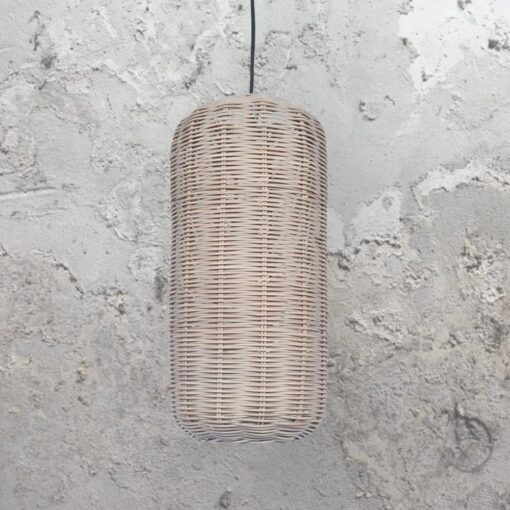 Grey Oval Woven Rattan Pendant Light