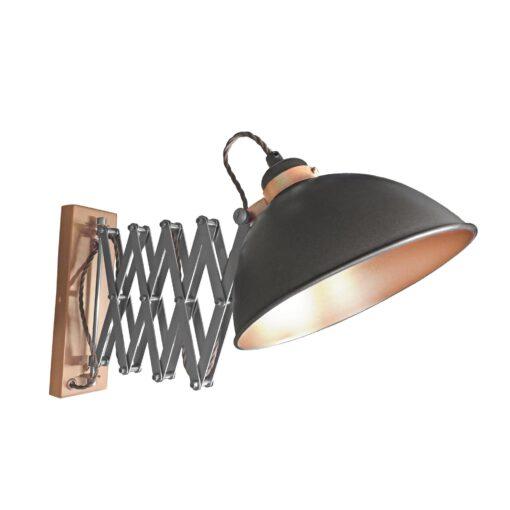 Gunmetal Scissor Arm Wall Light Copper Inner