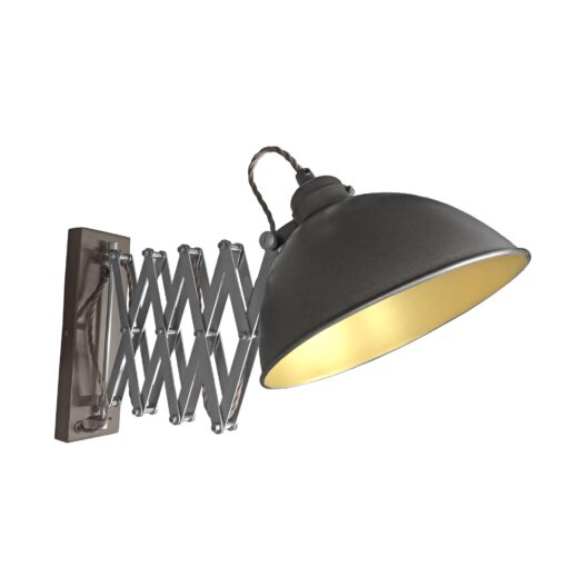 Gunmetal Scissor Arm Wall Light Satin Brass Inner