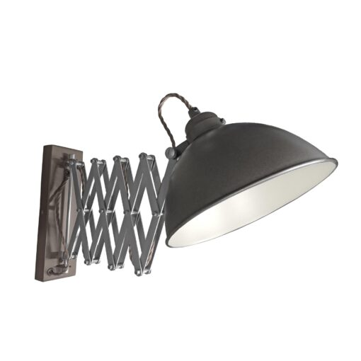 Gunmetal Scissor Arm Wall Light White Inner