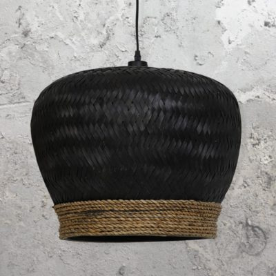 Handmade Black Rattan Pendant Light