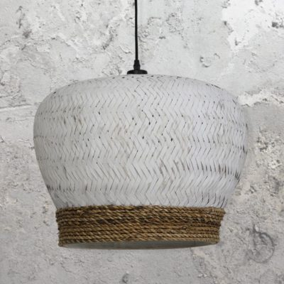 Handmade White Rattan Pendant Light