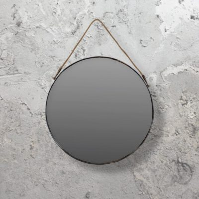 industrial hanging round mirror