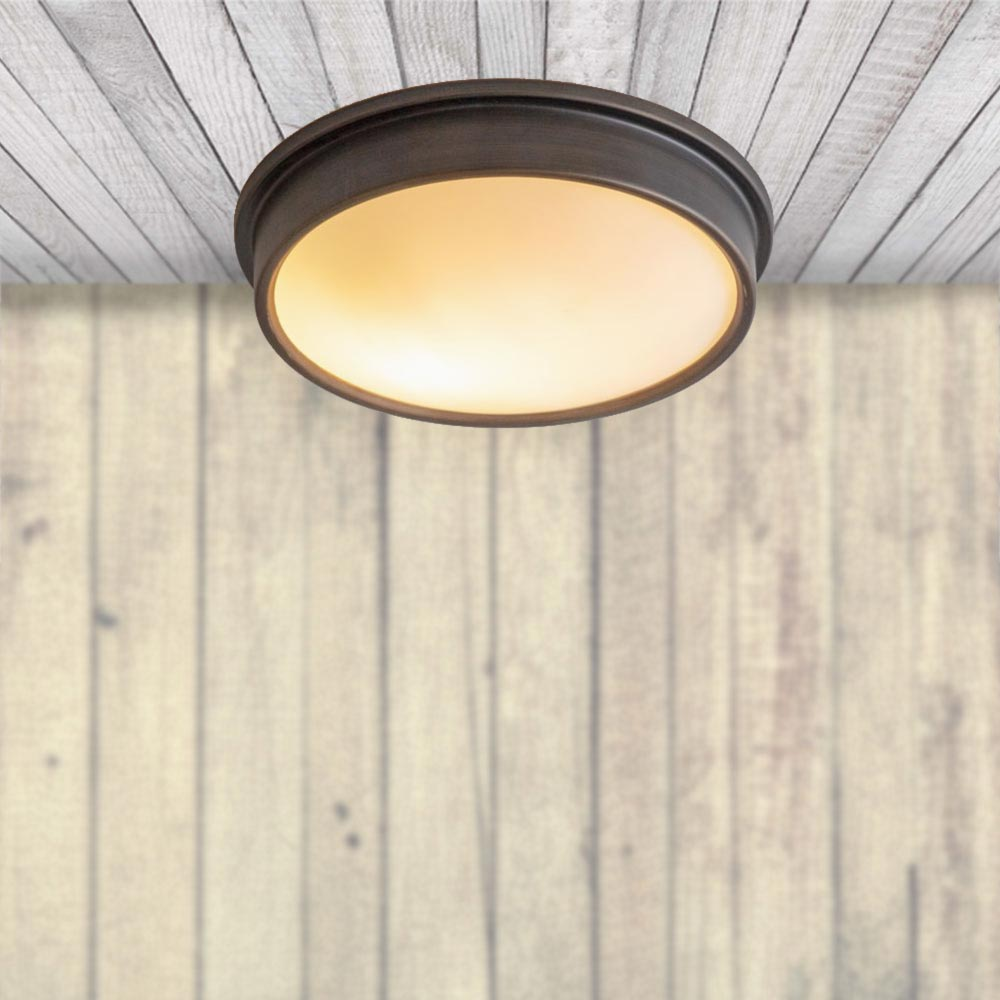 Ip44 Antique Bronze Flush Ceiling Light Cl 36286 E2 Contract Lighting Uk
