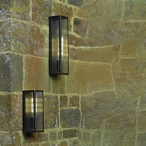 IP44 Ribbed Glass Outdoor Wall Light