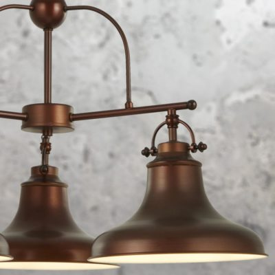 Industrial 3 Light Antique Bronze Pendant Light