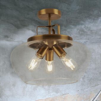 Industrial 3 Light Bronze Flush Mount
