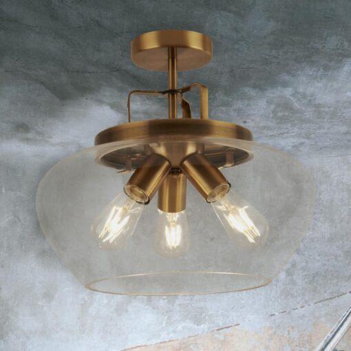 Industrial 3 Light Bronze Flush Mount