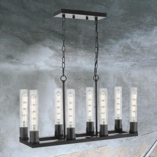 Industrial 8 Light Ribbed Glass Pendant