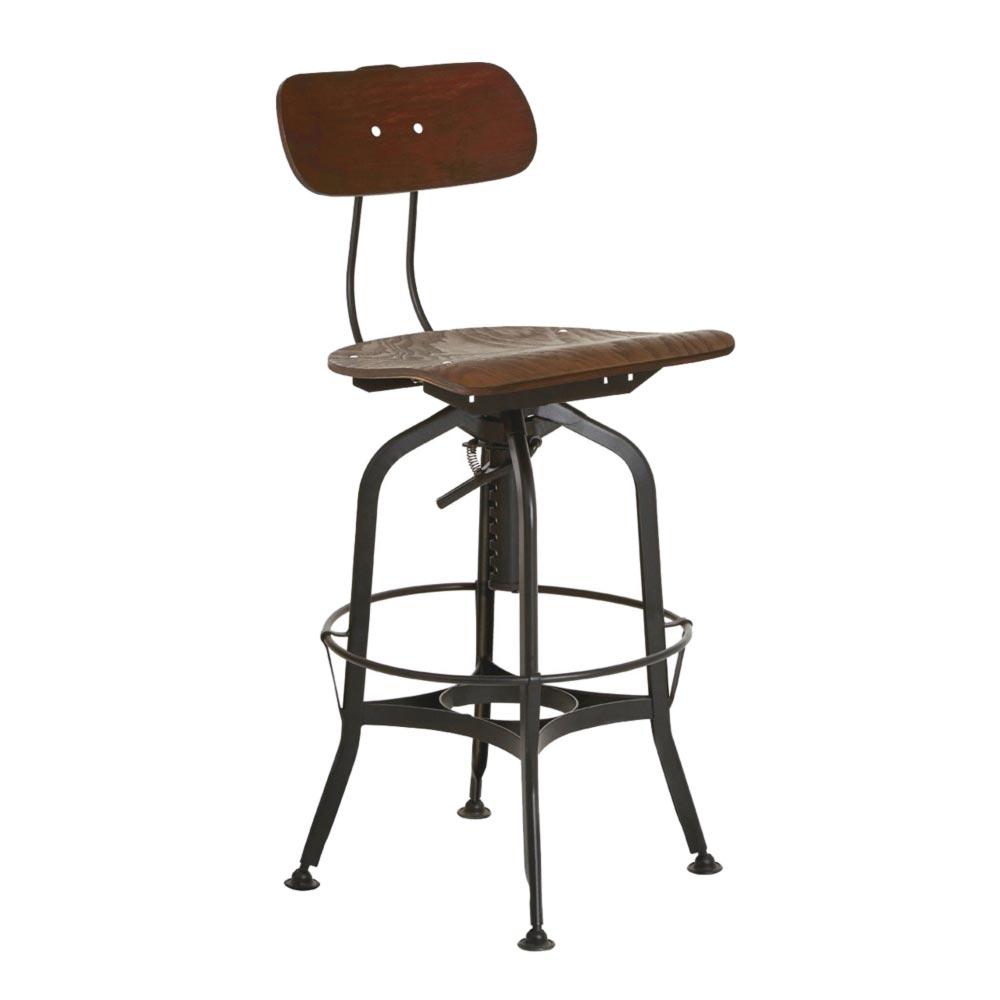Magnificent Industrial Adjustable Back Bar Stool Cl 40104 Machost Co Dining Chair Design Ideas Machostcouk