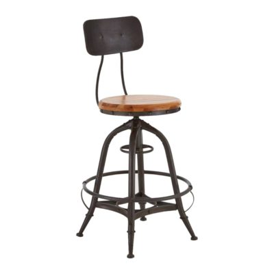Industrial Adjustable Round Bar Stool