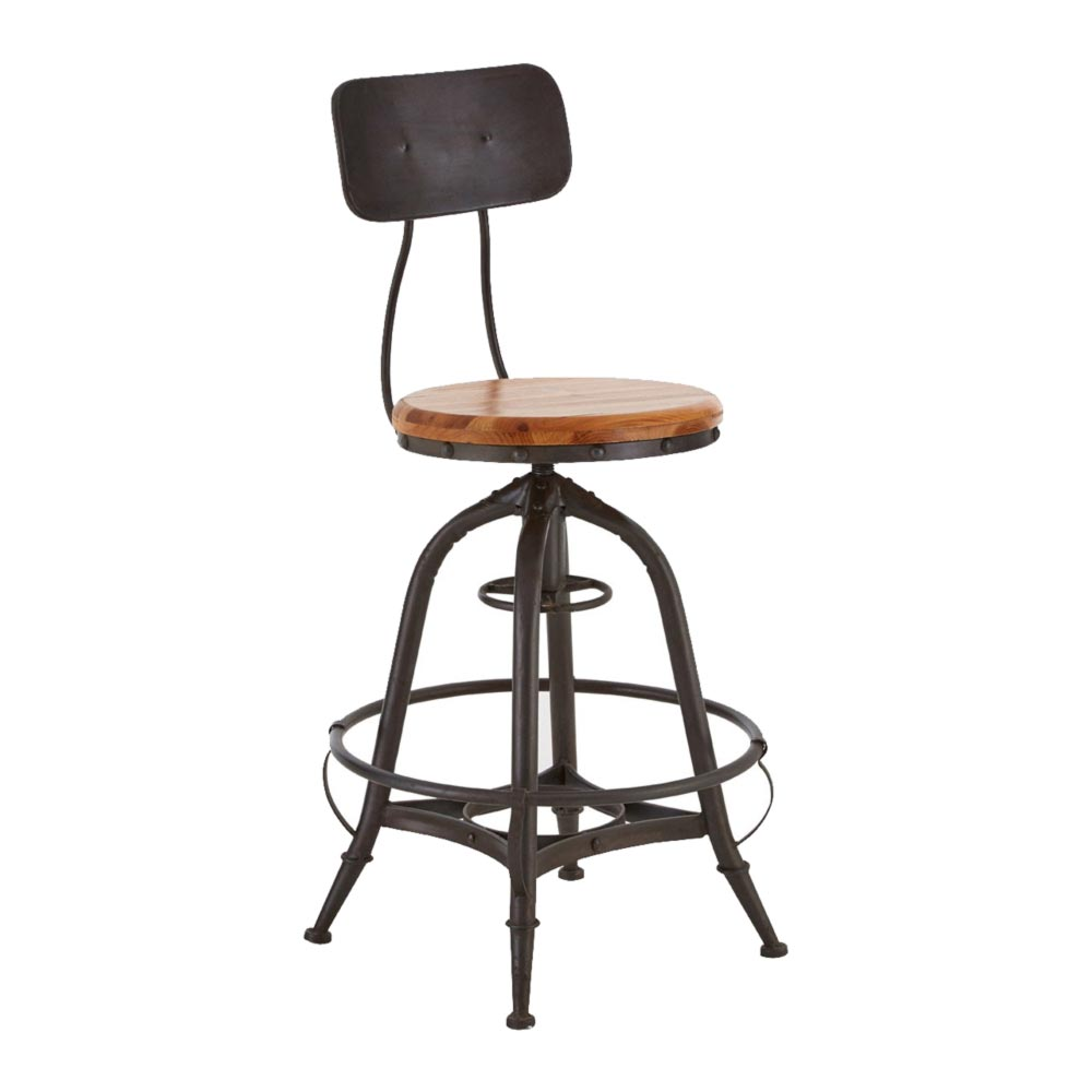 Fine Industrial Adjustable Round Bar Stool Cl 40103 Pabps2019 Chair Design Images Pabps2019Com