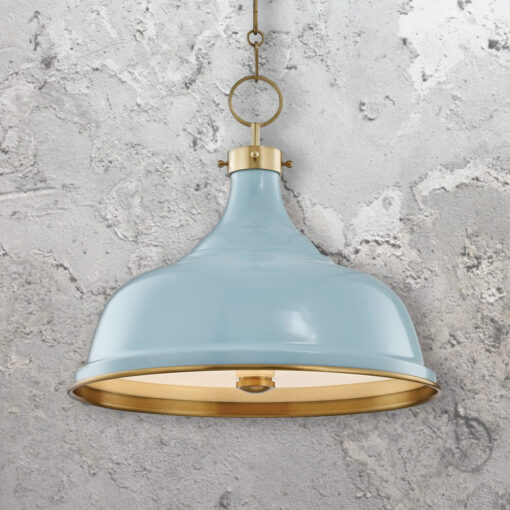 Industrial Aged Brass Pendant Light